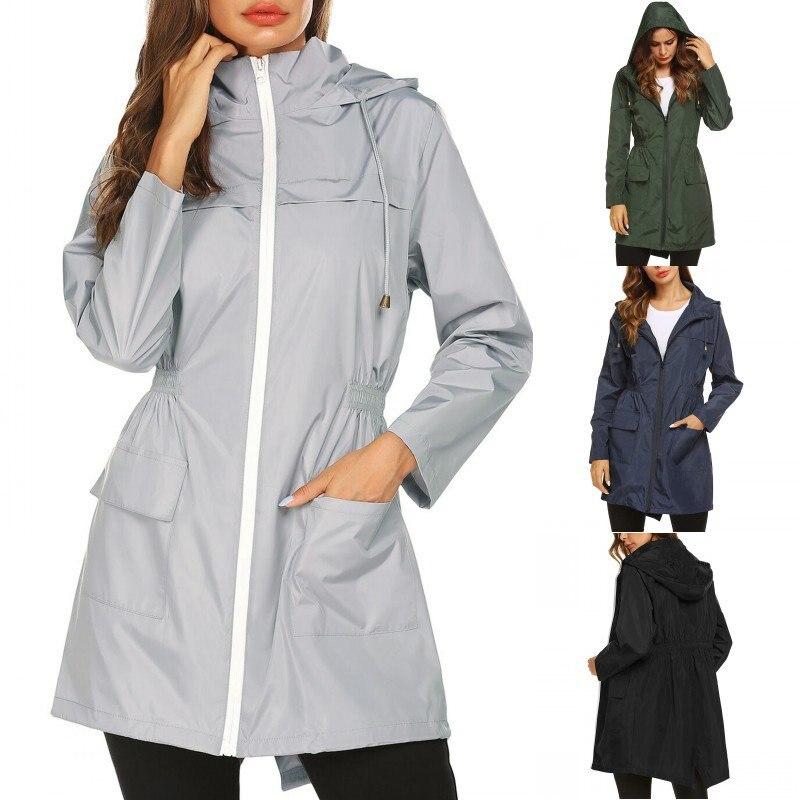 Fashion Ladies Long-sleeved Waterproof Suit Outdoor Hooded Raincoat Jacket Coat Solid Color