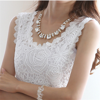 INDJXND White Lace Blouse Shirt Sexy Hollow Out Embroidery Feminine Blouse Women Sleeveless Summer Tops Female Plus Size Tops lace hollow bowknot blouse