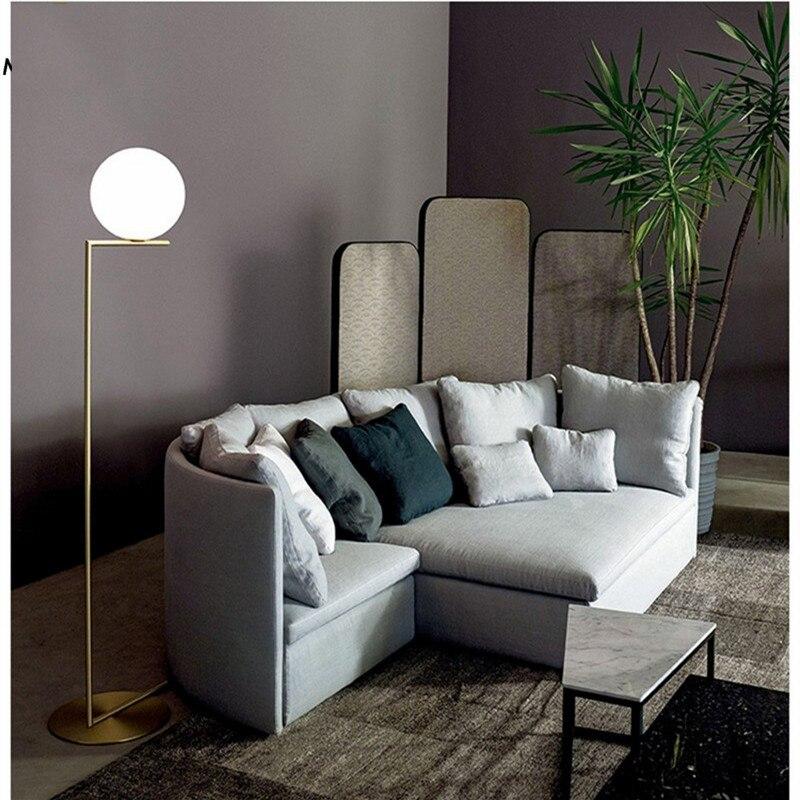 Lampadaire boule Led moderne lampadaire luxe glod lampadaire verre blanc lampe sur pied salon chevet Deco éclairage sur pied - 4