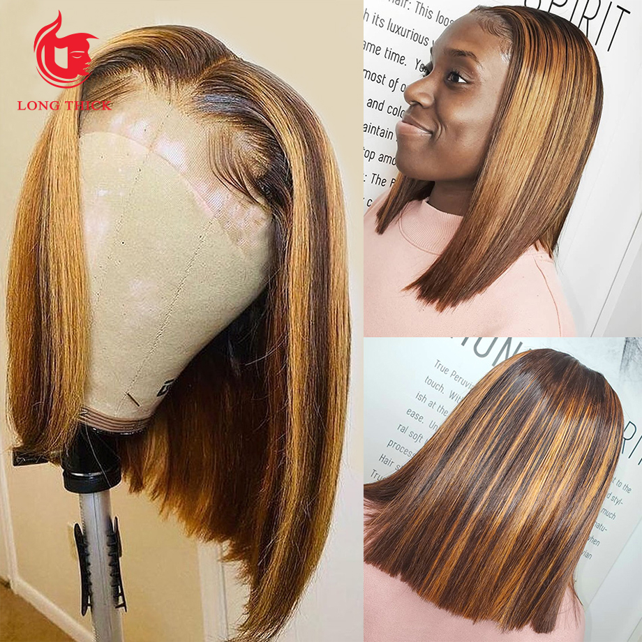 Short Bob Wig Lace Front  Wigs  4/27  Highlight Brown Wig  Straight Lace Front Wig 5