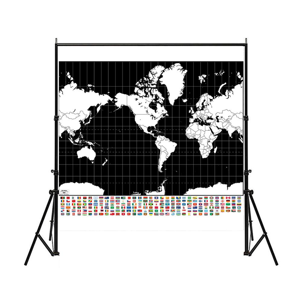 The World Mercator Projection Map With National Flag Black And White Simple Plate Map 150x150cm