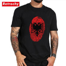 Newest Albania Flag Fingerprint T Shirt Men Urban Leisure Patriotic T-shirt Double Eagle Symbol Country Patriotism Lovers Tshirt(China)