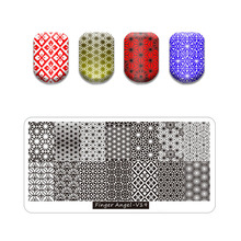 Manicure-Stencil-Set Stamping-Plates Flower Nail Hot DIY for Image