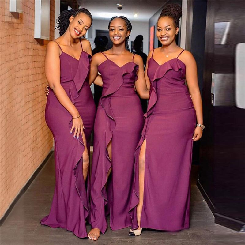 Mermaid Bridesmaid Dresses 2020 Nigerian Girls Grape Newest Ruffles Front Split Spaghetti Strap Long Maid of Honor Gowns Cheap