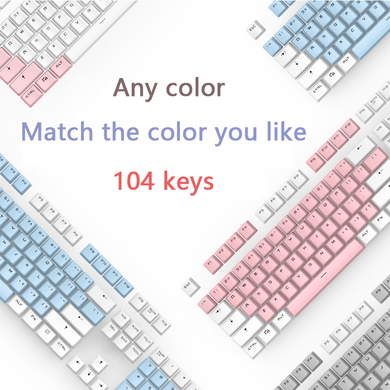 PBT Keycaps Double Shot Translucent Backlight Mechanical Keyboard Key Cap For Cherry MX 104 Keys