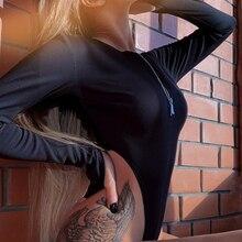 Sexy Deep V Neck Zip Up Bodysuit Slim Fit Women Overalls Playsuit Long Sleeve So