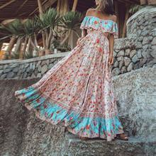 Bohemian Dress  Women Summer Printed Waist V-Collar Chiffon Dresses 2019 Long Beach Sexy Sleeveless