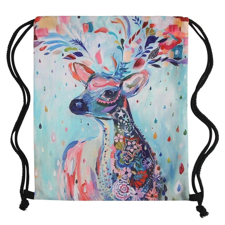 3D Printing Colorful Deer Girls Student Drawstring Backpack Fullprinting New Fashion Women Drawstring Bag