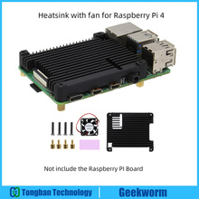 Raspberry Pi 4 / 4B Heat Sink (Compatible with POE Interface and Cooling Fan) Black Embedded Aluminum Alloy Heatsink P165-B
