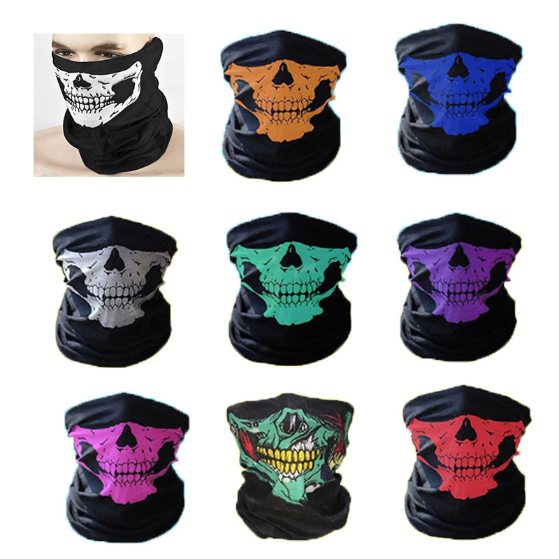 1PC Bandanas Skeleton Skull Warmer Bandana Windproof Dustproof Bandanas Scarf Neck Half Face Mask Cycling Ghost Scarf Riding Ski