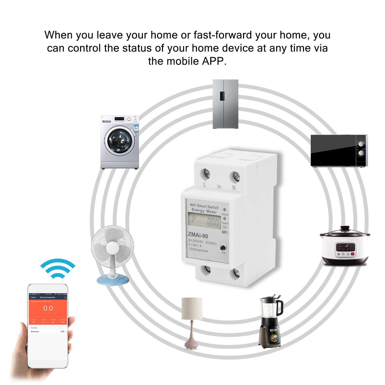 KKMOON monophasé Din Rail Wifi compteur d'énergie Intelligent consommation d'énergie Kwh mètre wattmètre travail avec Alexa et Google Home