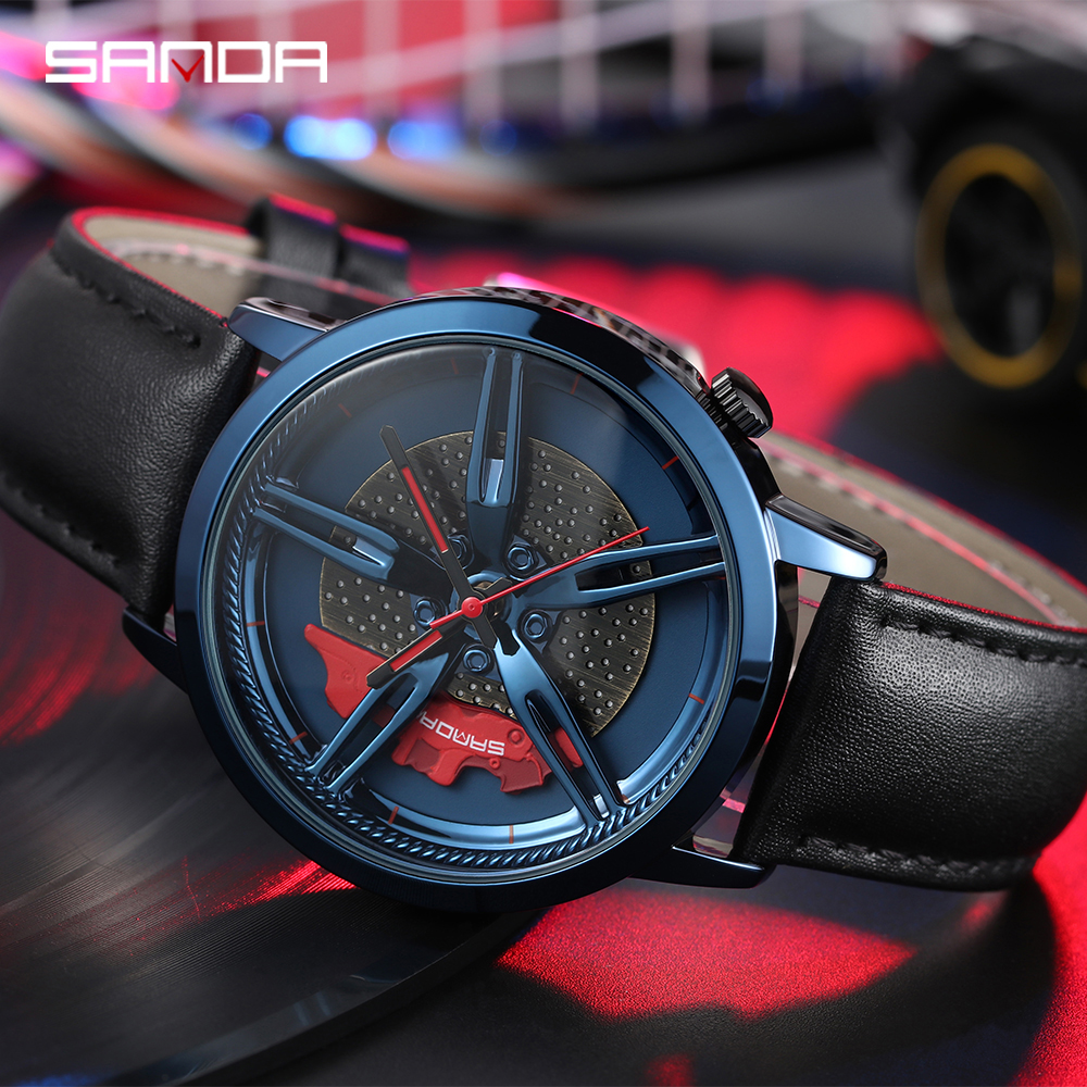 Image 4 - SANDA Top Brand Fashion Men Watch Premium Quartz Movement Wheel Wristwatch Leather Strap Life Waterproof Gifts Montre Homme 1040Quartz Watches   -