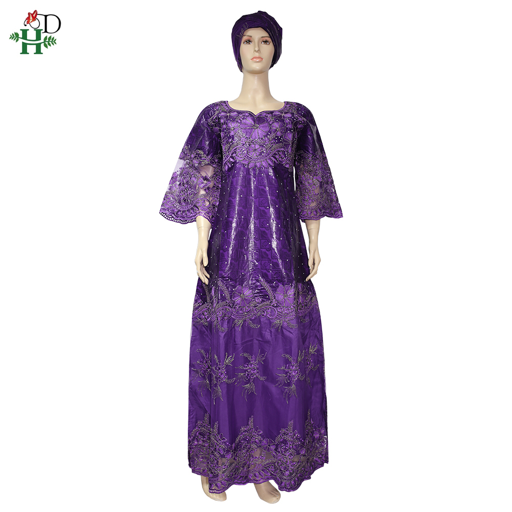 H&D Dashiki African Dresses For Women Bazin Riche Getzner 2020 New Evening Party Ladies Dresses Maxi Dress With Turbans SP-55-QS