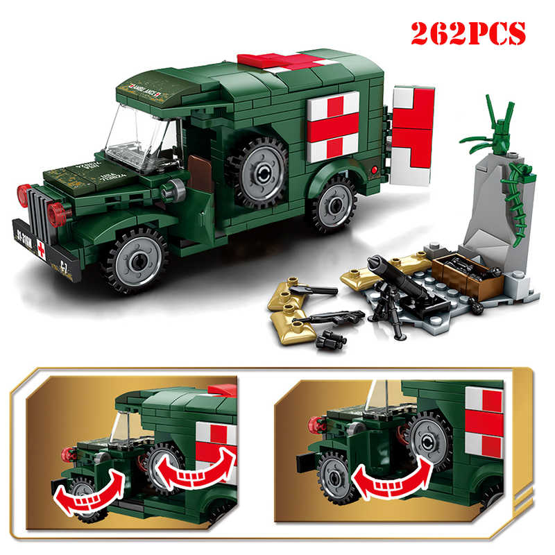Military WW2 Ambulance Vehicle Tank Truck Soldiers Figures Building Blocks Compatible Legoings Army Bricks DIY Toys For Children