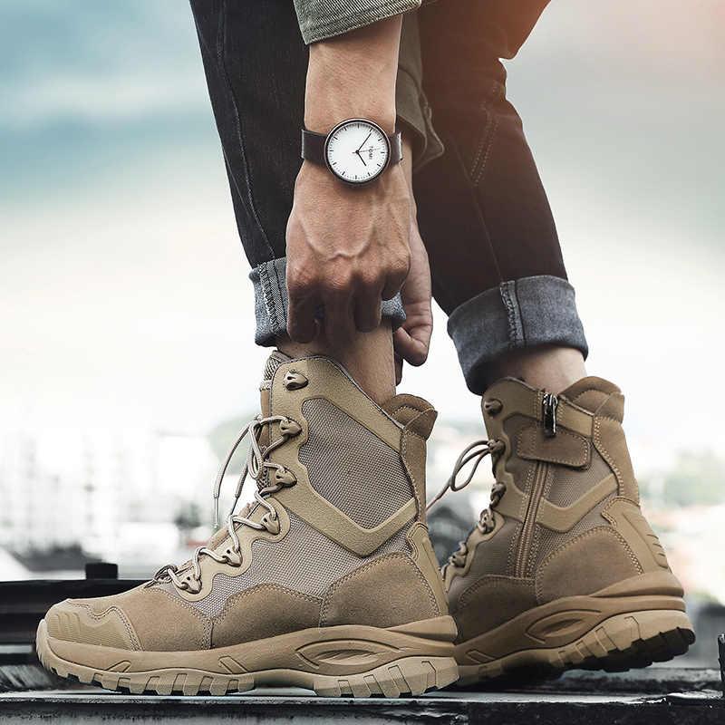 Kış sonbahar erkek askeri bot kaliteli özel kuvvet taktik çöl savaş ayak bileği botları ordu iş ayakkabısı deri açık botlar