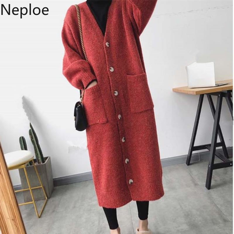 Neploe Oversized Sweater Knitted Cardigan Cashmere Jacket Thickened Korean-Long Casual