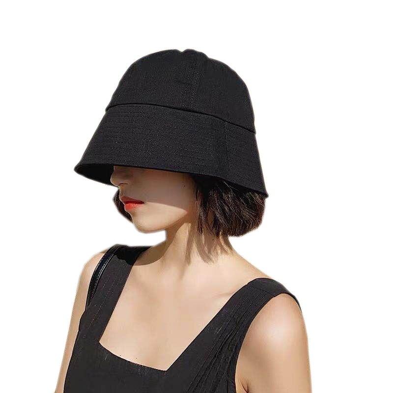 2020 New Vintage Black Bucket Hat Women Summer Casual Street Sun Hat Korean Visor Bucket Cap Solid Color Adjustable Cotton Hats
