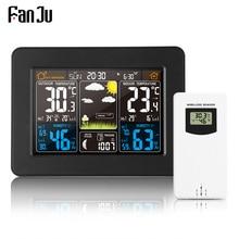 FanJu FJ3365 기상 관측소 기압 예보 알람 실내 실외 온도계 습도계 무선 다기능 시계