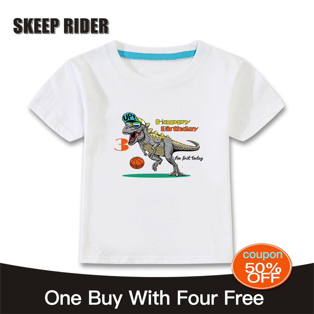 3 ans Kids Bambin T Shirt Birthday Girl T SHIRT-rose dinosaure Blanc T Shirt
