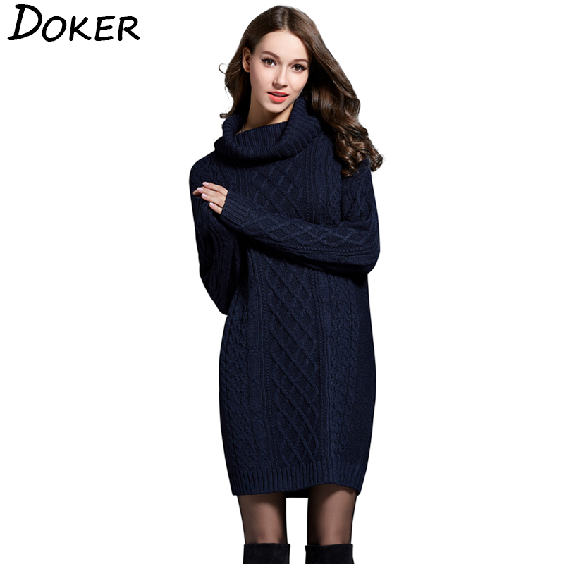 Elegant Turtleneck Pullovers Office Ladies Long Sweater Women Long Sleeve Thick Sweater Autumn Winter New Knitted Sweater Dress