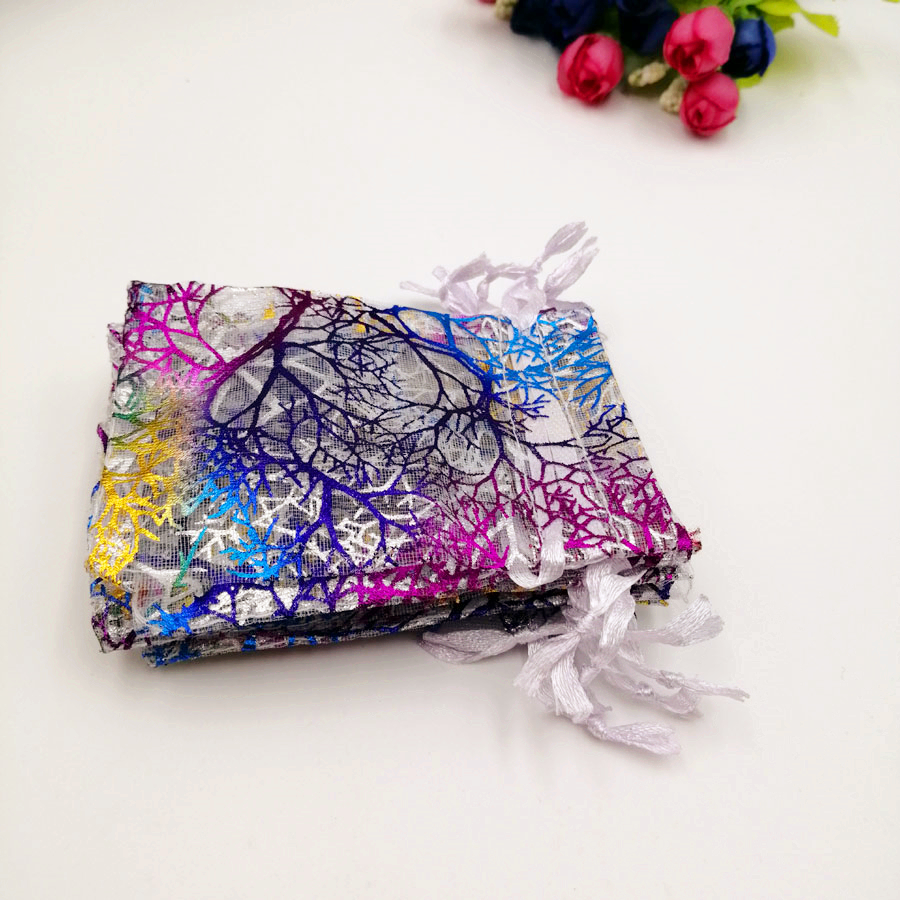1000pcs White Coral Organza Bag Drawstring Pouch Bag Organizer Jewelry Box Gift For Wed Christmas Jewelry Display Packaging Bags