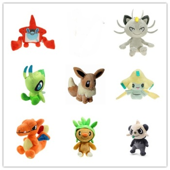 14-18CM plush Eevee Charizard Rotom Chespin Meowth Celebi EX GX Mega good quality positive energy soft christmas gift for kid image