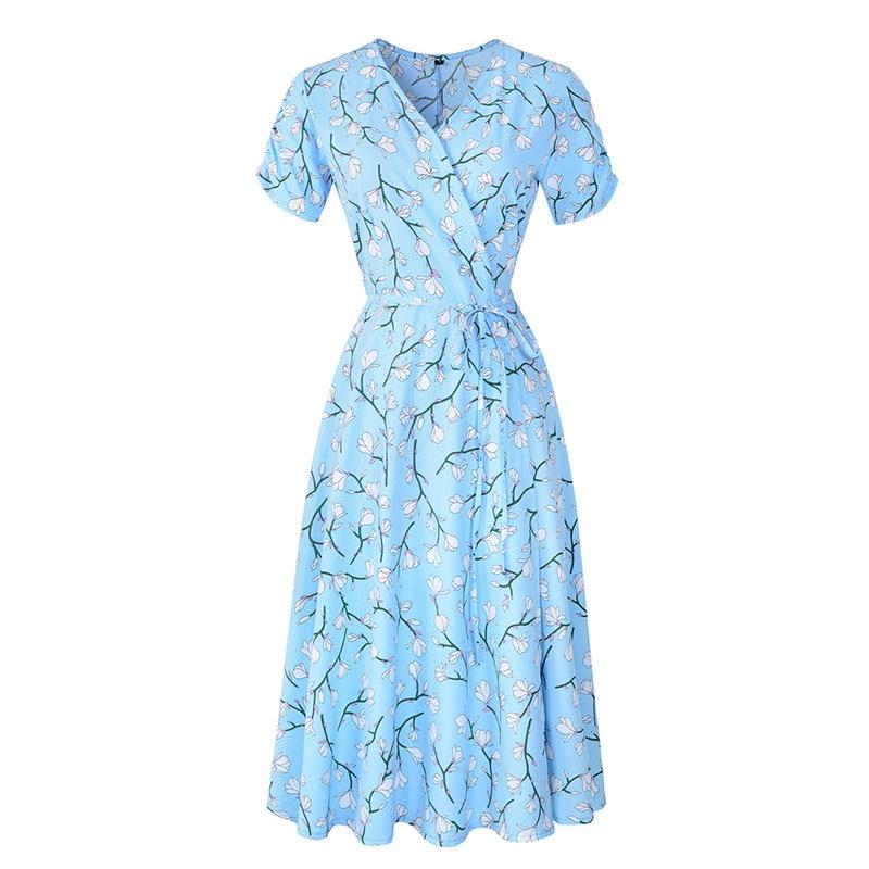 2021 Summer Elegant Short Sleeve Chiffon Dress Women Floral Printing Vintage A-Line Bohemian Beach Midi Sundress Plus Size 9