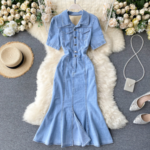 Женское джинсовое платье с разрезом SINGRAIN, винтажное Открытое платье с открытой спиной и коротким рукавом, летнее однотонное платье с рюшами...