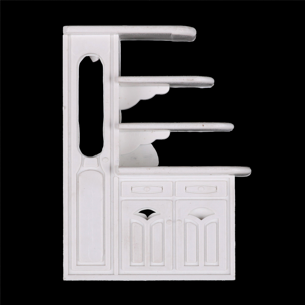 New Miniature Kitchen Cabinet Model 1:12 Dollhouse Kitchen Dining Cabinet Display Shelf White Doll House Decoration Accessories
