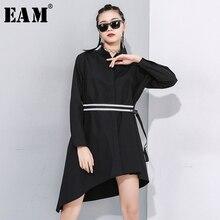 [EAM] بلوزة نسائية سوداء غير متماثلة مزودة بمشبك وأكمام طويلة فضفاضة قميص مناسب للربيع والخريف 2020 1N485