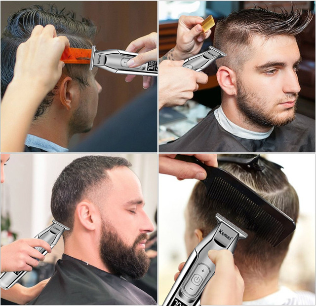 Kemei professional hair clipper beard trimmer men's hair trimmer LCD digital display 0mm cordless haircut electric razor 5 4