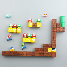 39pcs 3D 장식 입체 슈퍼 마리오 브라더스 냉장고 자석 메시지 스티커 성인 남자 여자 소년 어린이 장난감 생일 선물