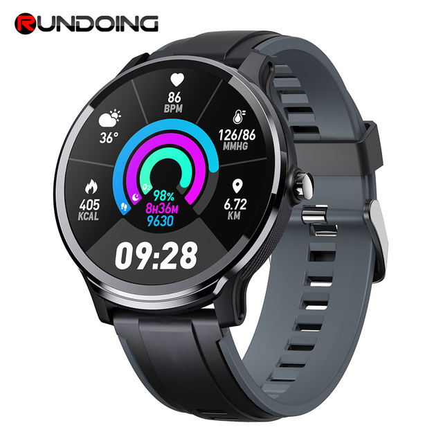 RUNDOING SN80 Smart watch IP68 Waterproof 1.3 inch Full touch round screen Blood Oxygen Men Sport Smartwatch For Android IOS