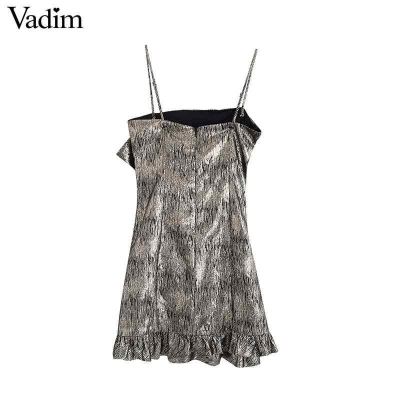 Vadim Sexy Hở Lưng Không Tay Mini Dây Kéo Sau Lưng Có Thể Điều Chỉnh Dây Xù Đảng Câu Lạc Bộ Thiết Kế Đầm Nữ QD003