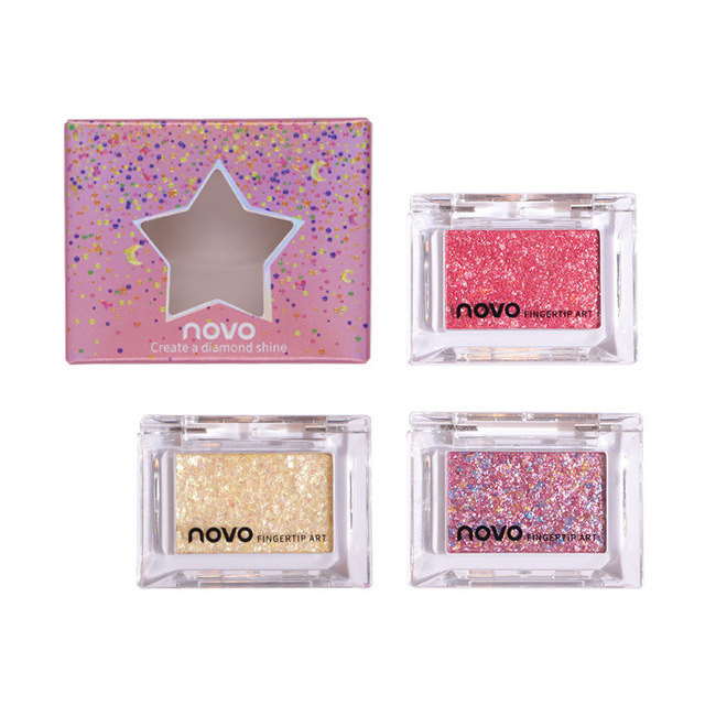 NOVO Single Color Glitter Sequins Eyeshadow Palette Makeup Galaxy Shimmer Bright Highlight Eye Shadow Waterproof Cosmetics 5