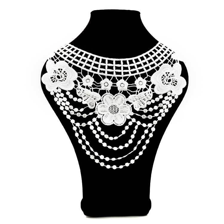 "Image 3 - 7 Color ""Front Collar+Back Collar"" Craft Venise Sequins Floral Embroidered Applique for DIY Costume Decoration Accessories-in Lace from Home & Garden"