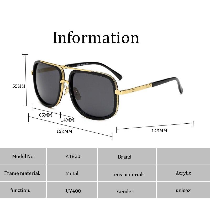 luxury Fashion Tony Stark Style for women Sunglasses Men Square Brand Design Sun Glasses Oculos Retro male 5