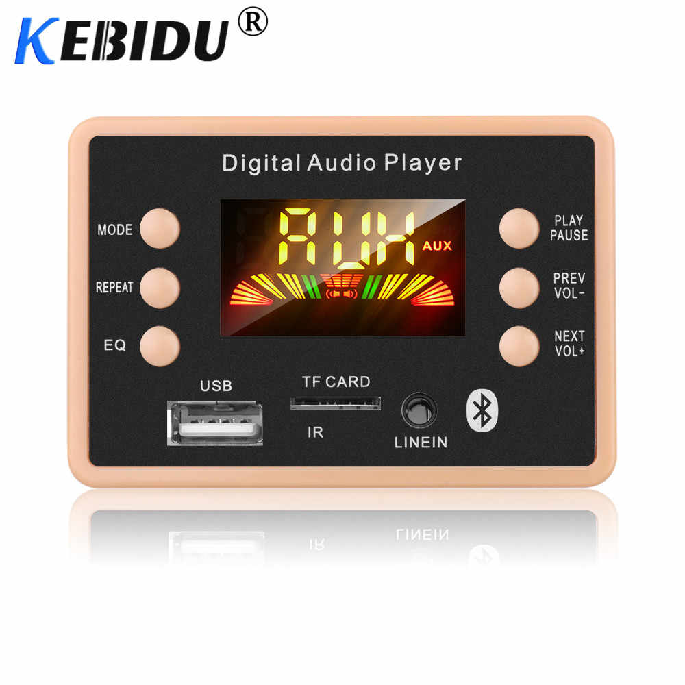 Kebidu 5 v 12 v mp3 bluetooth 5.0 decodificador decodificação placa módulo carro usb mp3 player wma wav tf slot para cartão/usb/fm placa módulo