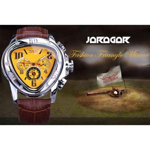 Image 2 - Jaragar الرياضة موضة تصميم هندسي مثلث حالة براون حزام من الجلد 3 الطلب الرجال مشاهدة العلامة التجارية الفاخرة ساعة أوتوماتيكية على مدار الساعة