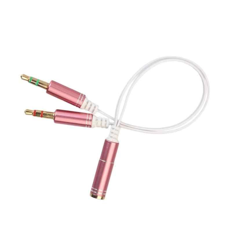 Przewód aux Jack 3.5mm kabel Audio 3.5mm Mic kabel splittera słuchawki adapter słuchawek 1 kobieta do 2 mężczyzna hurtownia dostawca
