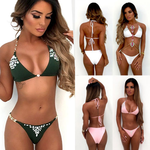 Women Sequin Rhinestone Crystal Diamond Bikini Set Swimsuit Brazilian Swimwear Female Bathing Suit Biquini