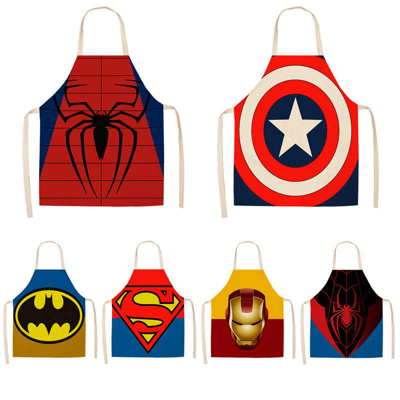 Parent-child Kitchen Apron Super Hero Spiderman Captain America  Printed Sleeveless Linen Aprons for Men Women Home Cleaning