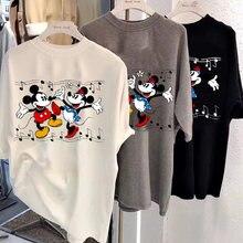 Disney Mickey druck 2021 T-shirt damen cartoon Mickey Minnie Mickey Maus sommer kurzen ärmeln komfortable rundhals weiß top verlieren