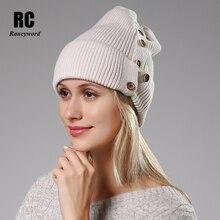 [Rancyword] chapéus de inverno para mulheres lã de malha chapéu de angora beanies feminino quente pele de coelho skullies gorro para a menina RC2078 1