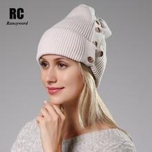 [Rancyword] الشتاء القبعات للنساء الصوف محبوك الأنجورا قبعة بيني الإناث الدافئة الأرنب الفراء Skullies قبعة لفتاة RC2078 1