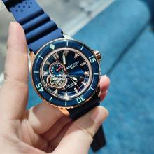 Riff Tiger/RT Luxus Dive Uhren für Männer Automatische Rose Gold Ton Blau Uhren Nylon Strap RGA3039
