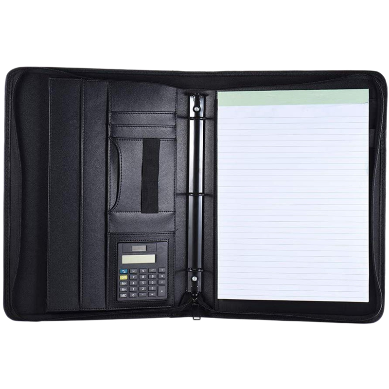 A4 Leather Business Portfolio Padfolio Folder With Business Card U Flash Disk Holder Memo Note Pad Loose-Leaf Loop