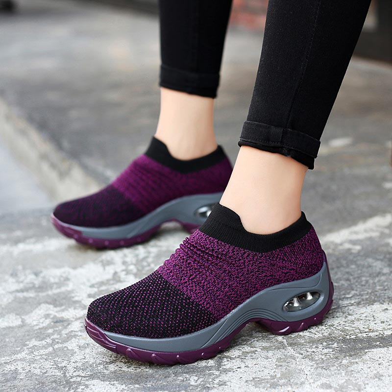 Big Size Platform Sock Trainers Women Sport Sneakers Woman Sports Shoes Womens Running Shoes Thick Sole Air Black Purple A-394
