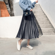 Mooirue Autumn Winter Pleuche Long Skirts Women Vintage Mesh Patchwork Elastic Loose Pleated Skirt Korean Style Kawaii