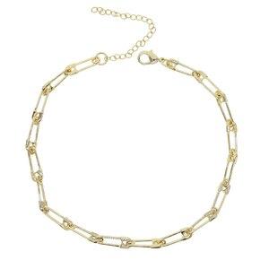 Image 5 - Vintage مجوهرات النساء فريدة الذهب مايكرو تمهيد تشيكوسلوفاكيا دبوس أمان ربط سلسلة المختنق قلادة 32 + 8 سنتيمتر